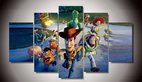 Toy Story, 5 Panel Framed Canvas Wall Art - Canvart