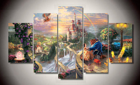 Beauty and the Beast, 5 Panel Framed Canvas Wall Art - Canvart
