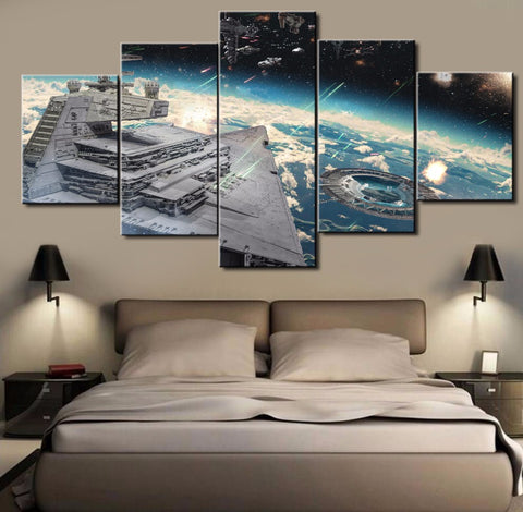 Star Wars Capital One Ship Rogue One, 5 Panel Framed Canvas Wall Art - Canvart