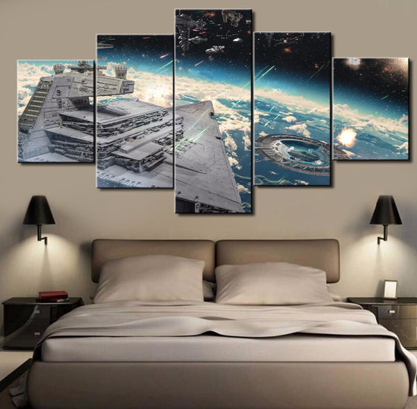 Star Wars Capital One Ship Rogue One 5 Panel Framed Canvas Wall Art