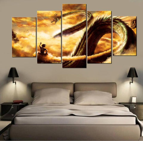 Dragon Ball Z Goku Shenron, 5 Panel Framed Canvas Wall Art - Canvart