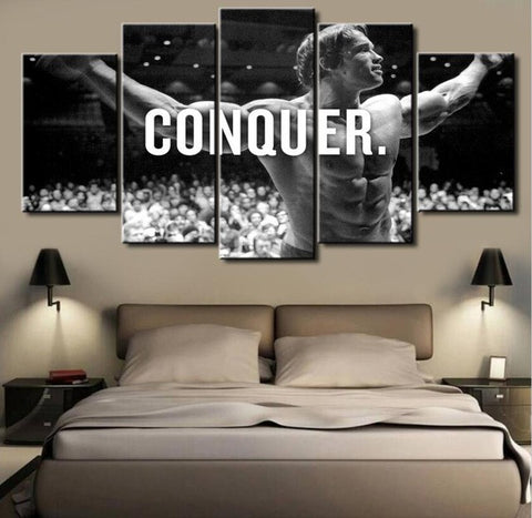 Arnold Schwarzenegger, 5 Panel Framed Canvas Wall Art - Canvart