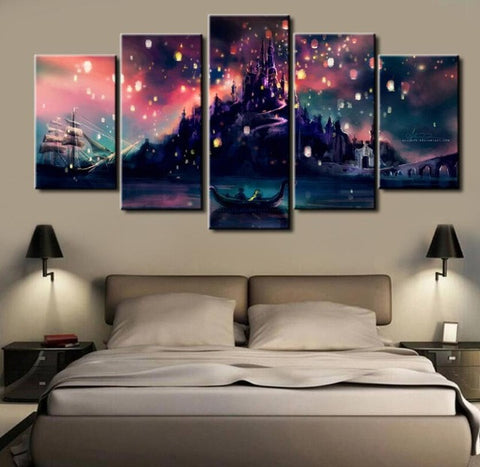 Tangled Movie Lantern Scene, 5 Panel Framed Canvas Wall Art - Canvart