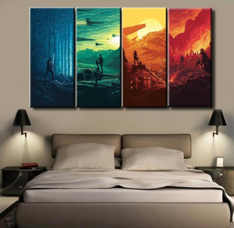 Star Wars The Force Awakens Movie, 4 Panel Framed Canvas Wall Art - Canvart