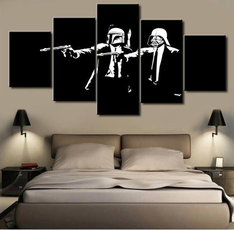 Star Wars Pulp Fiction, 5 Panel Framed Canvas Wall Art - Canvart
