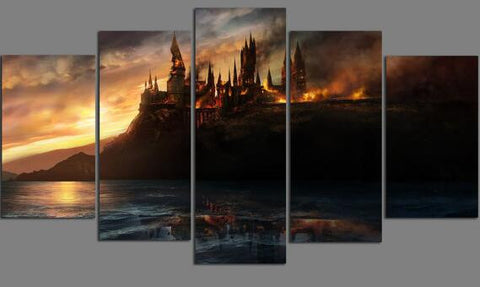 Hogwarts Deathly Hallows, 5 Panel Framed Canvas Wall Art - Canvart