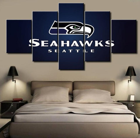 Seattle Seahawks, 5 Panel Framed Canvas Wall Art - Canvart