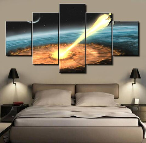 Dragon Ball Z Kamehameha, 5 Panel Framed Canvas Wall Art - Canvart