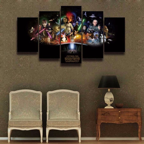 Star Wars Cast, 5 Panel Framed Canvas Wall Art - Canvart