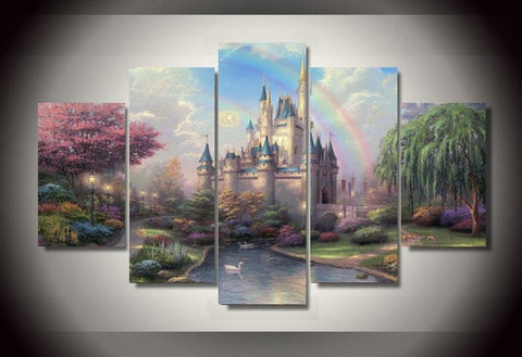 Disney Cinderella Castle, 5 Panel Framed Canvas Wall Art