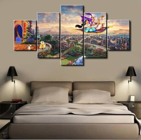 Aladdin Disney, 5 Panel Framed Canvas Art - Canvart