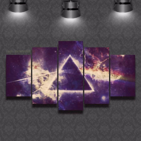 Pink Floyd Dark Side Of The Moon, 5 Panel Framed Canvas Wall Art - Canvart