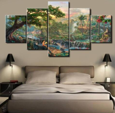 The Jungle Book, 5 Panel Framed Canvas Art - Canvart