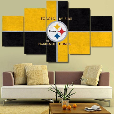 Pitsburgh Steelers, 5 Panel Framed Canvas Wall Art - Canvart