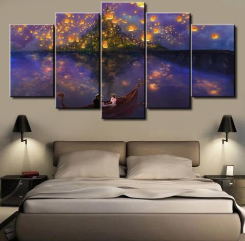 Tangled Disney Movie Scene, 5 Panel Framed Canvas Wall Art - Canvart