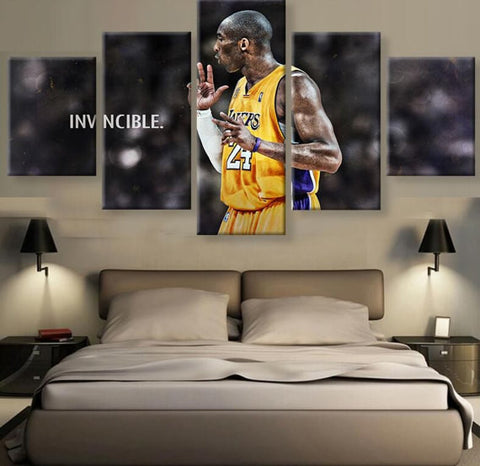Kobe Bryant INVINCIBLE, 5 Panel Framed Canvas Wall Art - Canvart