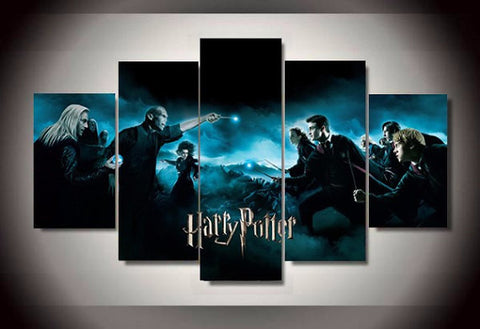 Harry Potter Movie Poster, 5 Panel Framed Canvas Wall Art