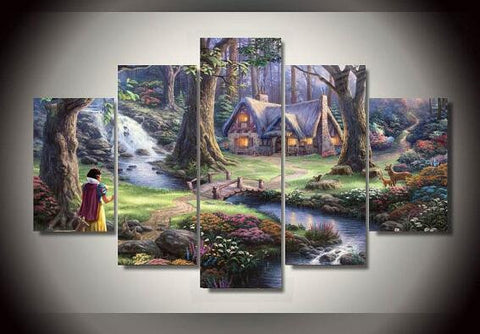 Snow White, 5 Panel Framed Canvas Wall Art - Canvart