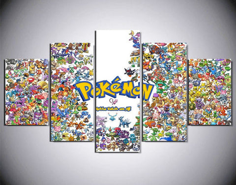 Pokemon Gotta Catch em' All, 5 Panel Framed Canvas Wall Art - Canvart