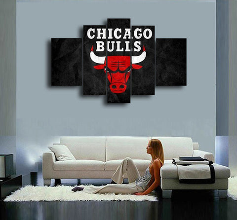 Chicago Bulls, 5 Panel Framed Canvas Wall Art - Canvart