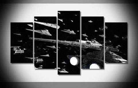 Star Wars Imperial Fleet, 5 Panel Framed Canvas Wall Art - Canvart