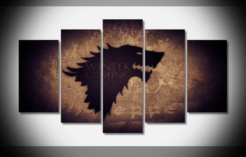 Game Of Thrones Winter Is Coming, 5 Panel Framed Canvas Wall Art
