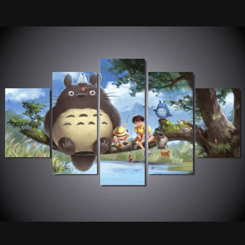 Totoro, 5 Panel Framed Canvas Wall Art - Canvart