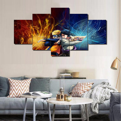 Naruto Anime, 5 Panel Framed Canvas Wall Art - Canvart