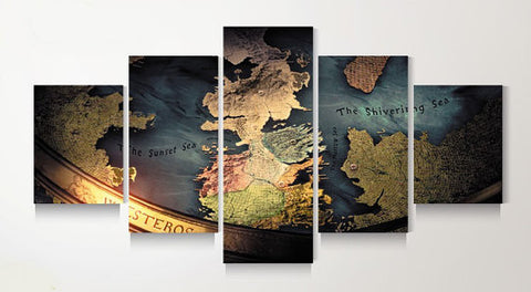 Game Of Thrones Map, 5 Panel Framed Canvas Wall Art