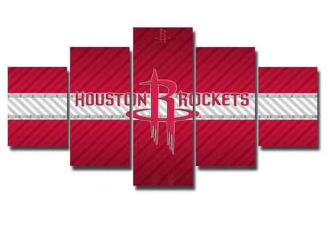 Houston Rockets, 5 Panel Framed Canvas Wall Art - Canvart