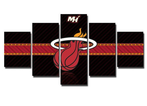 Miami Heat, 5 Panel Framed Canvas Wall Art - Canvart