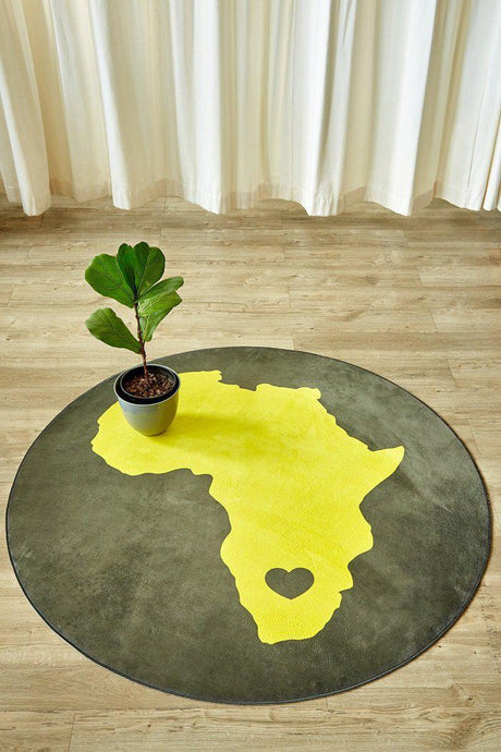 African Yellow Round-rugs-Airloom
