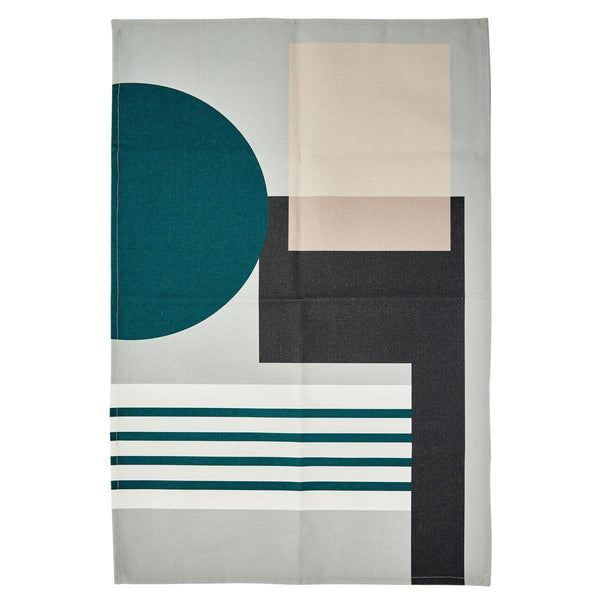 Cool Bauhaus Circle Tea Towel-Decor-Airloom