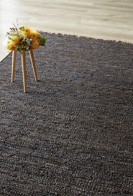 Espresso Leather Dhurrie-rugs-Airloom