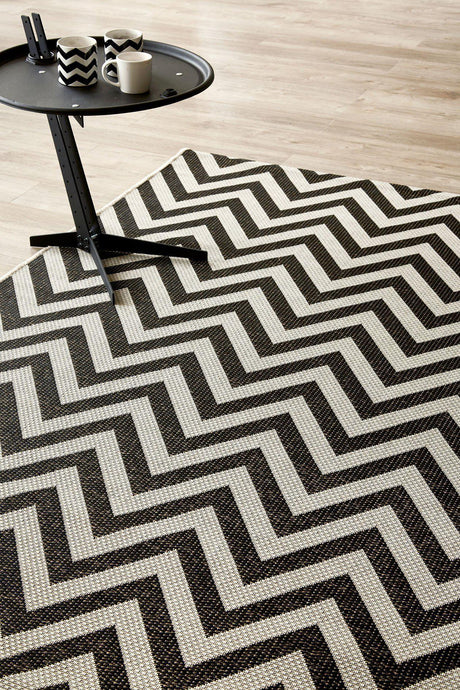 Herringbone Black Rug (new stock)-rugs-Airloom