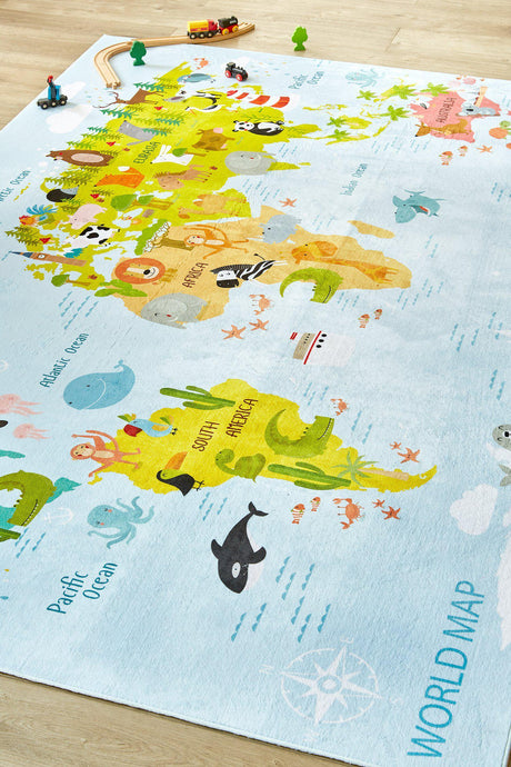 Kids World Map-rugs-Airloom