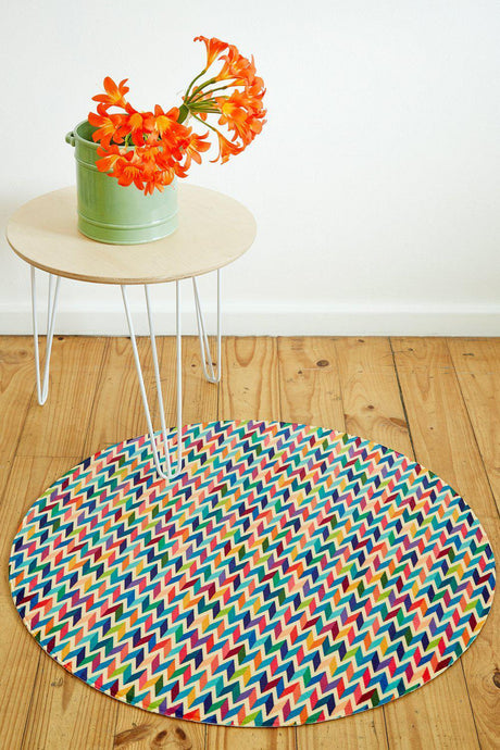 Multi-coloured Chevron Round-rugs-Airloom