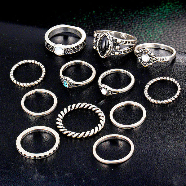 Bohemian Style Rings - 12 Pieces Set - luxfellas