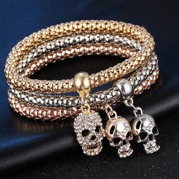 Set of 3 Crystal Skull Bracelets