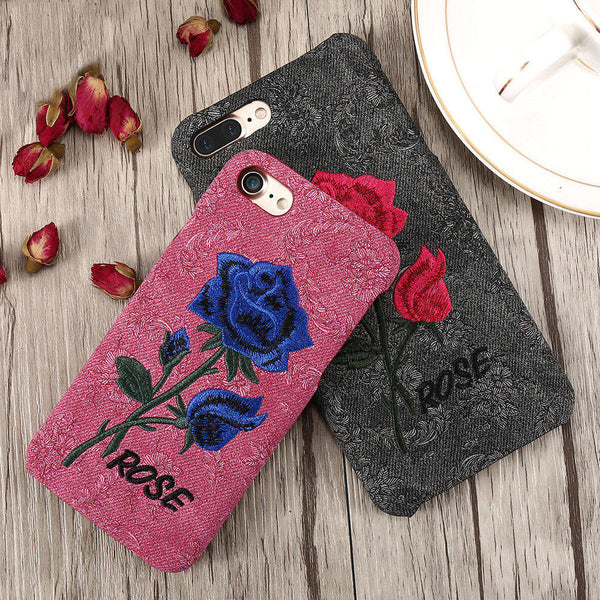Rose Embroidery iPhone Case - luxfellas