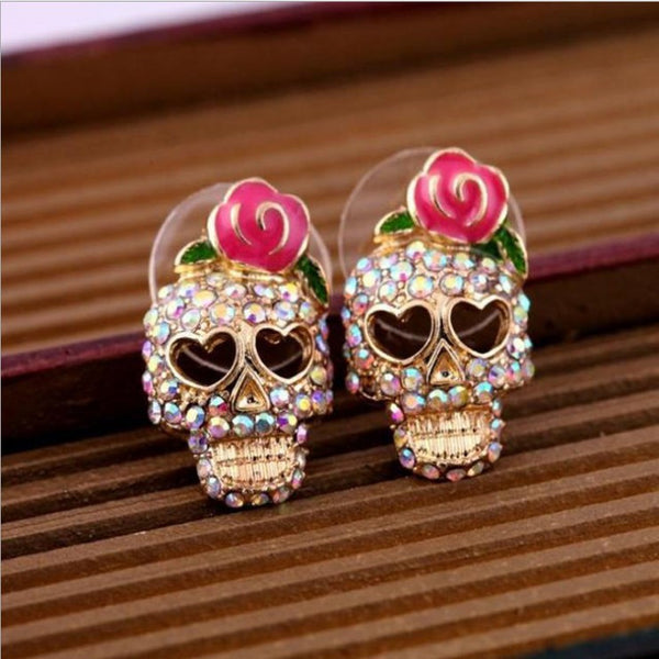 Crystal Gold Heart Skull Earrings - luxfellas
