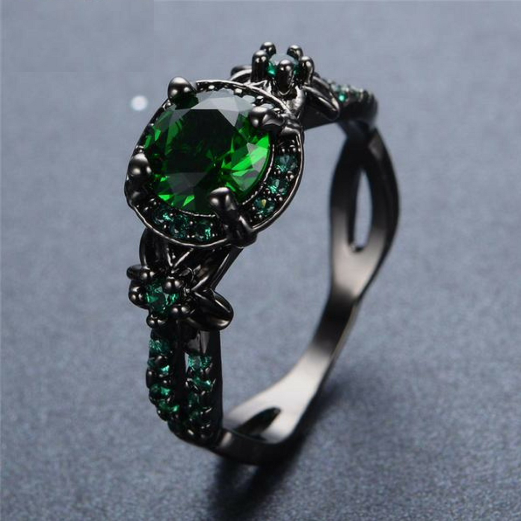 Black Gold Emerald Ring Hibabashop
