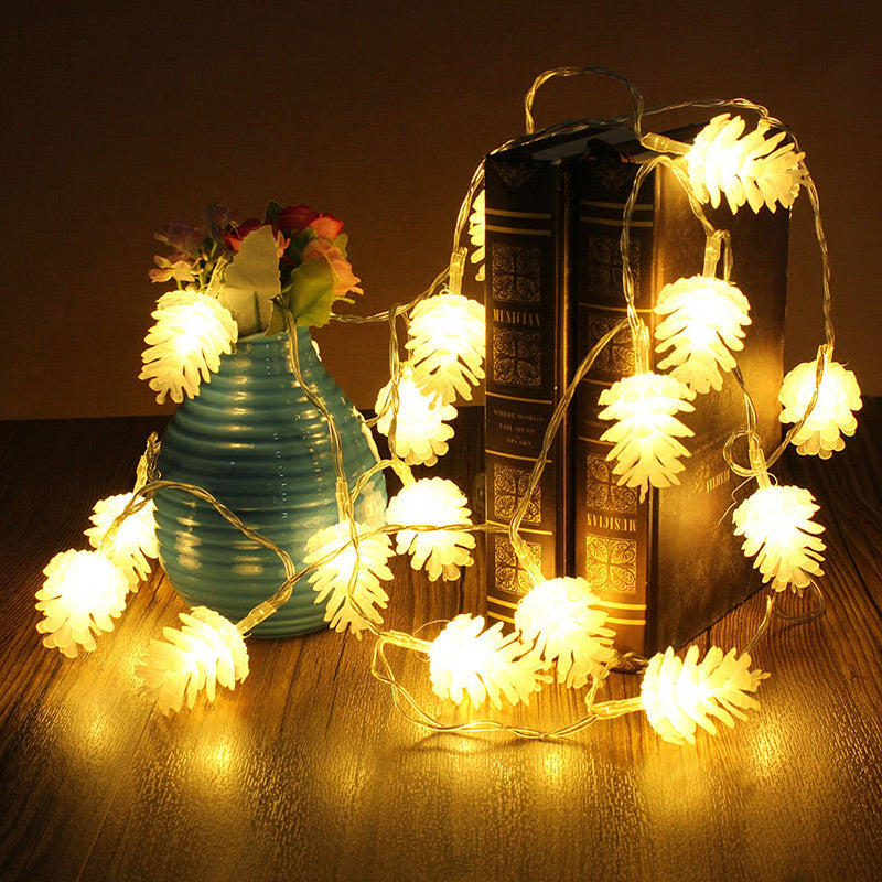 Portable Christmas Lights.Portable Battery Operated Pine Cone Led String Christmas Lights