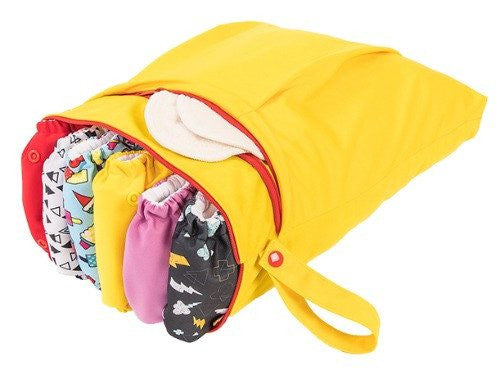 Funky Fluff Double Pocket Wet Bag - Yellow Submarine