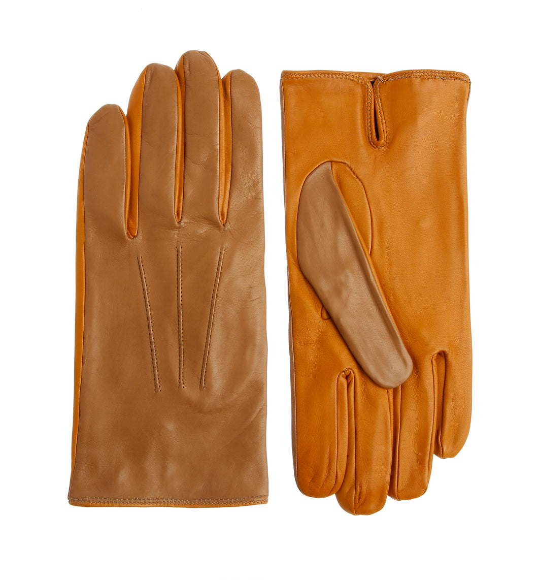 Two Tone Leather Gloves - Beige/Yellow