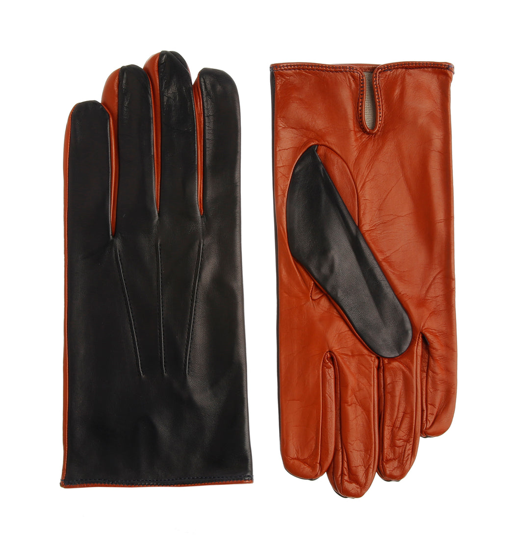 Two Tone Leather Gloves - Dark Blue/Orange