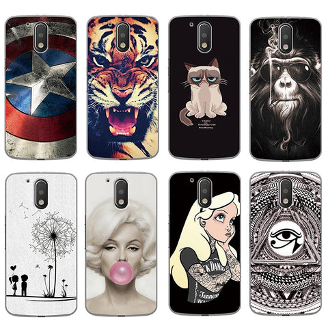 Coloured Drawing Hard Plastic Protective Back Cover For Motorola Moto G4