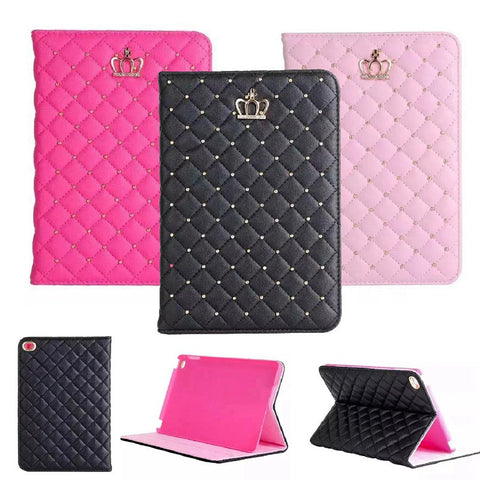 Luxury Diamond Crown Grid PU Leather Cover For ipad Mini 1 2 3  Case