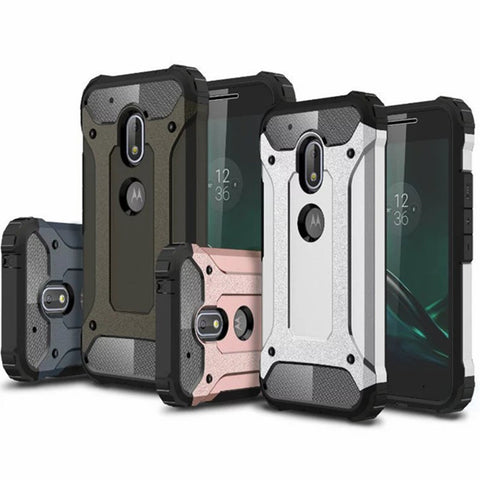 Hybrid Armor Case For Motorola Moto G4 / Play / Plus / G3 / E3 Silicone + PC Shockproof