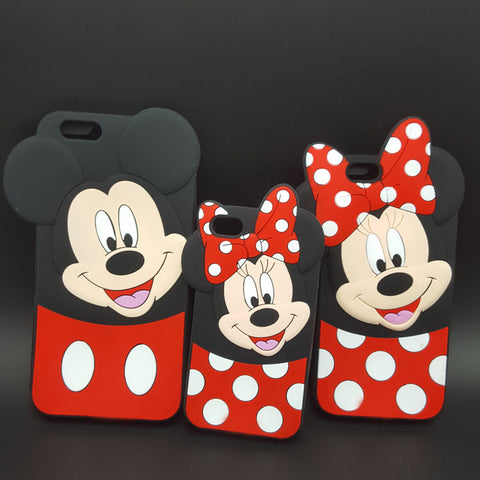 3D Cartoon Mickey Minnie Mouse Soft Silicone Cover For iPhone 4/4s/5/5s/SE/6/6s plus/7 plus